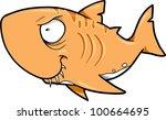 Crazy Orange Shark Vector Illustration - stock vector