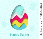 happy easter greeting card. 3d... | Shutterstock .eps vector #1006647874
