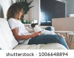 young blonde girl resting while ... | Shutterstock . vector #1006648894