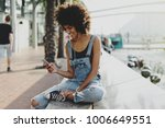 beautiful mixed race girl with... | Shutterstock . vector #1006649551