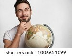 dreamy hipster guy with globe...   Shutterstock . vector #1006651099