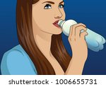 young woman drinking water | Shutterstock .eps vector #1006655731