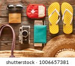 travel and beach items flat lay ... | Shutterstock . vector #1006657381