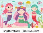 mermaids comb and decorate... | Shutterstock .eps vector #1006660825