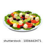 greek salad on a plate with... | Shutterstock .eps vector #1006663471