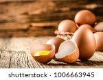 fresh brown eggs on rustic...   Shutterstock . vector #1006663945