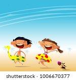 fun at the beach. happy cartoon ... | Shutterstock .eps vector #1006670377