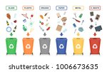garbage cans isolated on white...   Shutterstock .eps vector #1006673635