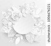paper flower. white roses cut... | Shutterstock .eps vector #1006676221