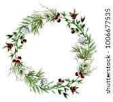 watercolor wreath with pine... | Shutterstock . vector #1006677535