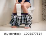 girl in the morning sits on... | Shutterstock . vector #1006677814