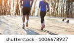 man and woman jogging in nature ... | Shutterstock . vector #1006678927