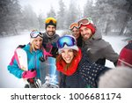 smiling group of skiers... | Shutterstock . vector #1006681174