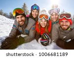 group of skiers together on... | Shutterstock . vector #1006681189