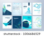 Set of brochure, annual report, flyer design templates in A4 size. Vector illustrations for business presentation, business paper, corporate document cover and layout template designs. | Shutterstock vector #1006686529