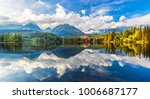 mountain lake strbske pleso ... | Shutterstock . vector #1006687177