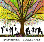 colored tree and silhouettes of ... | Shutterstock .eps vector #1006687765