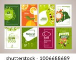 Set of restaurant menu, brochure, flyer design templates in A4 size. Vector illustrations for food and drink marketing material, ads, natural products presentation templates, cover design. | Shutterstock vector #1006688689