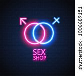sex shop neon sign brick wall... | Shutterstock .eps vector #1006689151