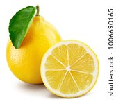 lemon fruit with leaf isolated... | Shutterstock . vector #1006690165