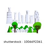 paper cut design. city with...   Shutterstock . vector #1006692361