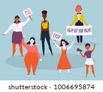 women protesters with stop and... | Shutterstock .eps vector #1006695874