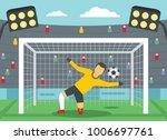 soccer goalkeeper on stadium...   Shutterstock .eps vector #1006697761