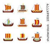 viking ship boat drakkar icons...   Shutterstock .eps vector #1006697779