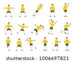 goalkeeper man icons set. flat... | Shutterstock .eps vector #1006697821