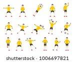 Goalkeeper Man Icons Set. Flat...