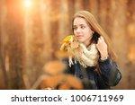 beautiful girl in warm scarf... | Shutterstock . vector #1006711969