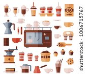 coffee set vector coffeemachine ... | Shutterstock .eps vector #1006715767