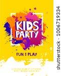 kids party letter sign poster.... | Shutterstock .eps vector #1006719334