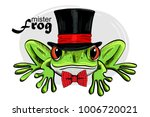 vector green frog with black... | Shutterstock .eps vector #1006720021