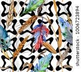 watercolor bird feather pattern ...   Shutterstock . vector #1006723894