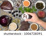 food rich in ferrum. various... | Shutterstock . vector #1006728391