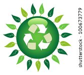 green recycle symbol surrounded ... | Shutterstock .eps vector #100673779