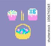 pixel art easter set of cake ...   Shutterstock .eps vector #1006743265