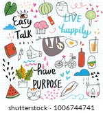 cute doodle collage background | Shutterstock .eps vector #1006744741