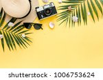 traveler accessories  tropical... | Shutterstock . vector #1006753624