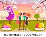 girls jump in their boyfriends... | Shutterstock .eps vector #1006755379