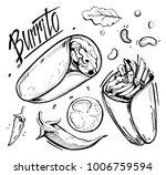 sketch of burrito. hand drawn... | Shutterstock .eps vector #1006759594