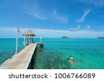 young couple of tourists... | Shutterstock . vector #1006766089