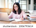 young woman taking note and... | Shutterstock . vector #1006793614