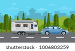 road travel poster with car and ... | Shutterstock .eps vector #1006803259