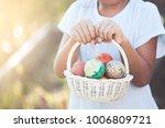 asian child girl holding basket ... | Shutterstock . vector #1006809721