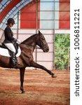 a sweet girl jockey rides a... | Shutterstock . vector #1006811221