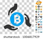 bitcoin care hands icon with...