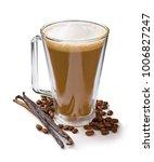 vanilla latte in tall glass on... | Shutterstock . vector #1006827247