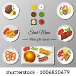 different steak menu on poster... | Shutterstock .eps vector #1006830679